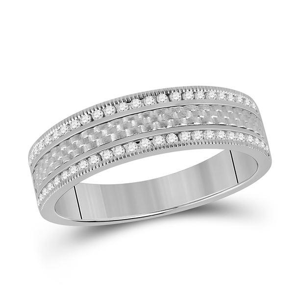Mens Diamond Wedding Brick Band Ring 1/3 Cttw 14kt White Gold