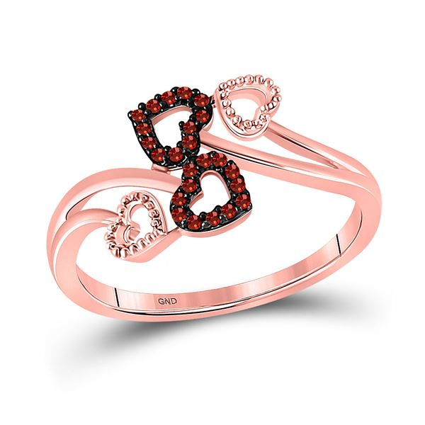 Red Color Enhanced Diamond Heart Ring 1/20 Cttw 10kt Rose Gold