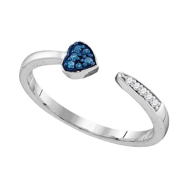 Blue Color Enhanced Diamond Bisected Heart Band 1/20 Cttw Sterling Silver