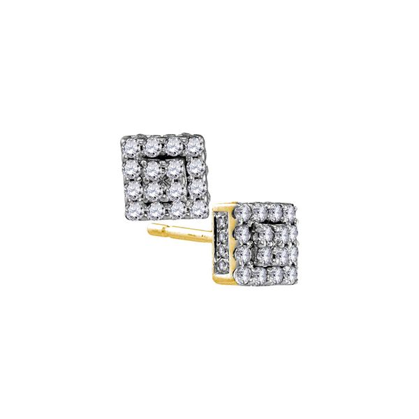 Diamond Square Cluster Earrings 1/3 Cttw 10kt Yellow Gold