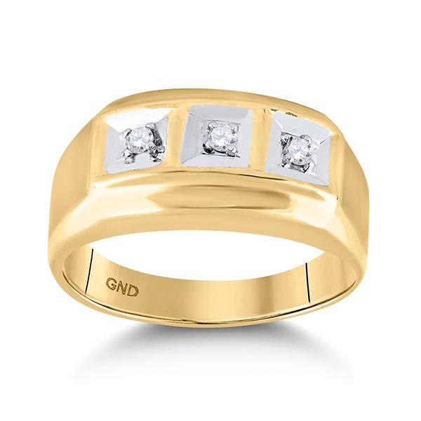 Mens Diamond 3-stone Ring 1/10 Cttw 10kt Yellow Gold