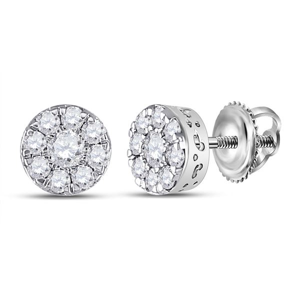 Diamond Cluster Earrings 1/2 Cttw 10kt White Gold
