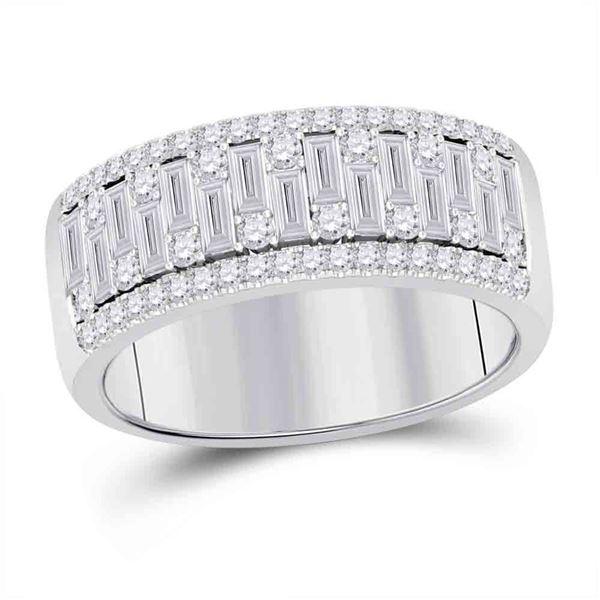 Mens Baguette Diamond Band Ring 1-1/4 Cttw 14kt White Gold