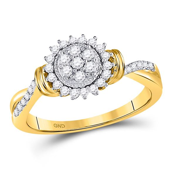 Diamond Circle Flower Cluster Ring 1/3 Cttw 10kt Yellow Gold