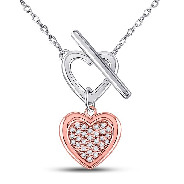 Diamond Fashion Heart Necklace 1/10 Cttw Sterling Silver