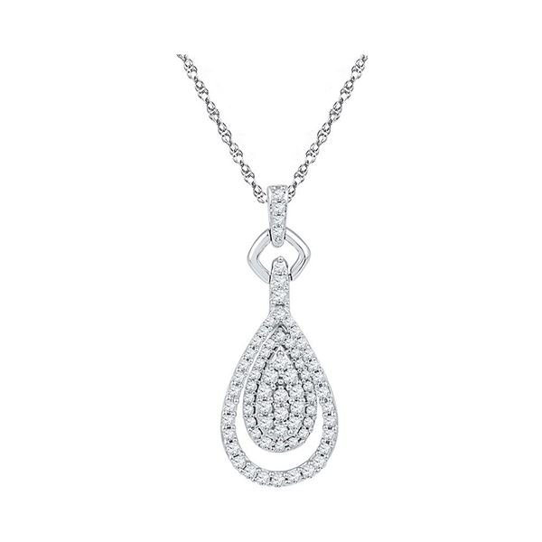 Diamond Teardrop Pendant 1/2 Cttw 10kt White Gold