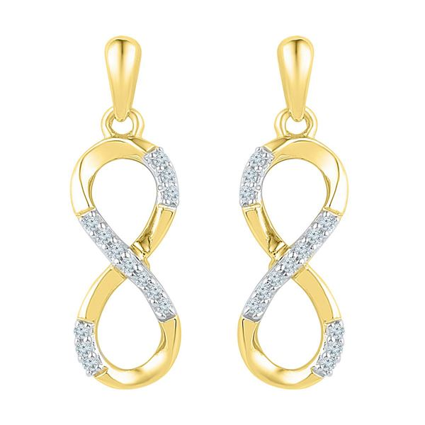Diamond Infinity Dangle Earrings 1/10 Cttw 10k Yellow Gold