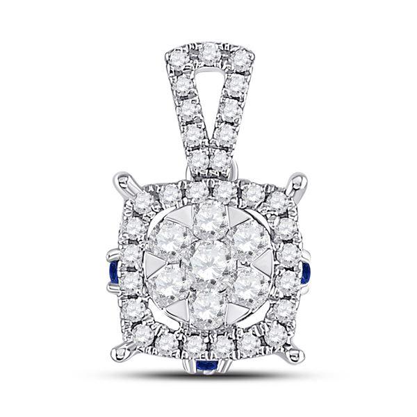 Diamond Blue Sapphire Square Pendant 1/2 Cttw 14kt White Gold