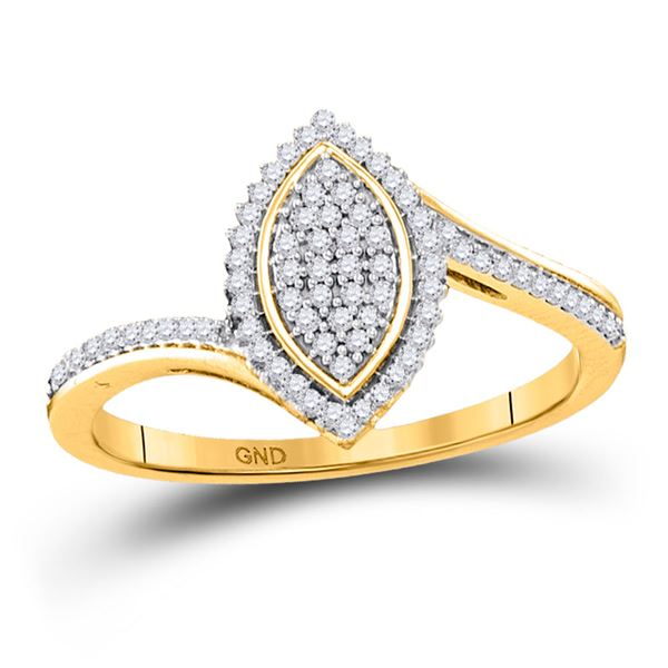 Diamond Marquise-shape Cluster Ring 1/5 Cttw 10kt Yellow Gold