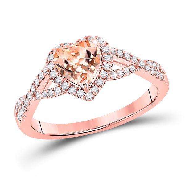 Heart Morganite Diamond Fashion Ring 1-1/4 Cttw 10kt Rose Gold