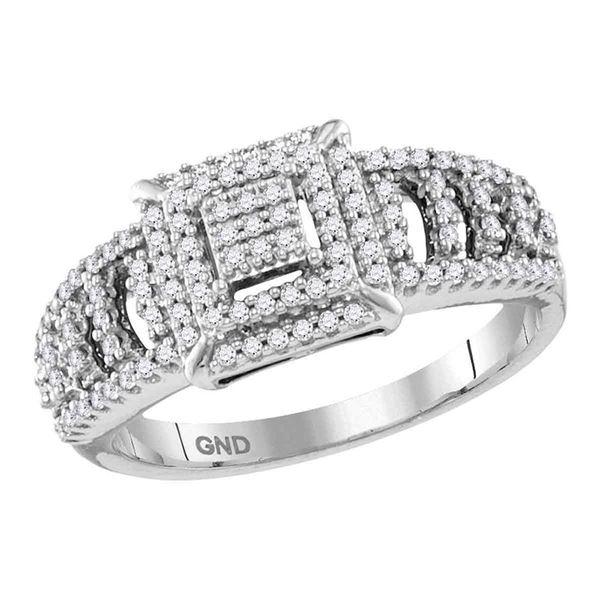 Diamond Square Cluster Ring 1/3 Cttw 10kt White Gold