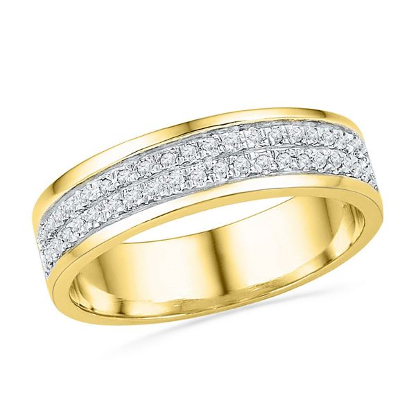 Diamond 2-row Band Ring 1/5 Cttw 10kt Yellow Gold
