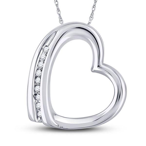 Diamond Heart Pendant .03 Cttw 10kt White Gold