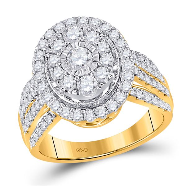 Diamond Cluster Oval Bridal Wedding Engagement Ring 1-1/2 Cttw 14kt Yellow Gold