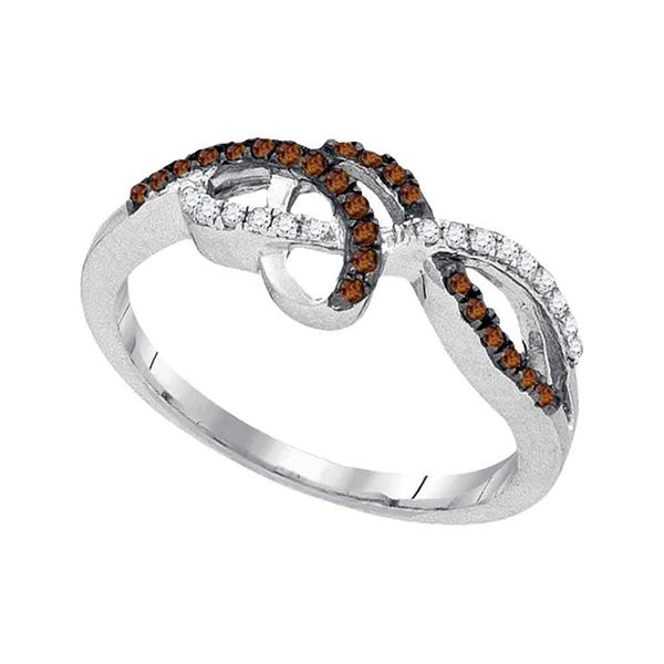 Brown Diamond Crossover Woven Band 1/5 Cttw 10kt White Gold