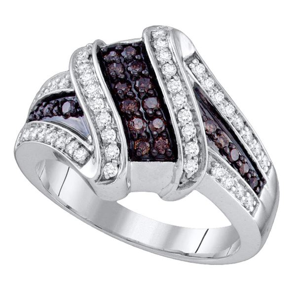 Brown Diamond Crossover Ring 1/2 Cttw 10kt White Gold