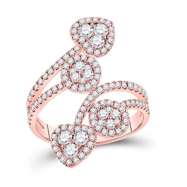 Diamond Bypass Cluster Heart Ring 1-1/4 Cttw 14kt Rose Gold