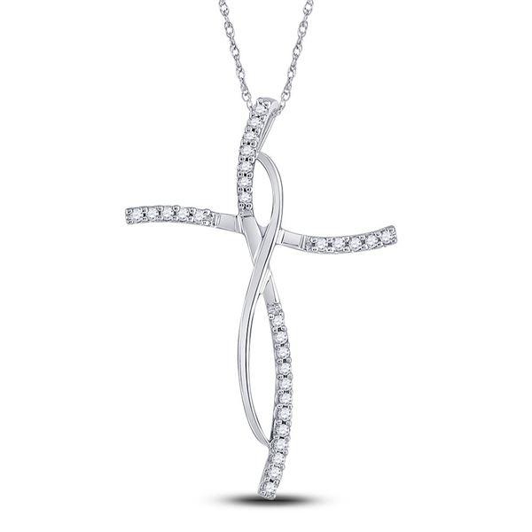 Diamond Cross Pendant 1/10 Cttw 14kt White Gold