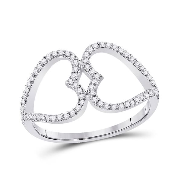 Diamond Negative Space Heart Ring 1/5 Cttw 10kt White Gold