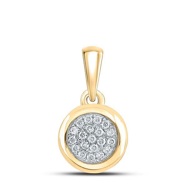 Diamond Cluster Pendant 1/6 Cttw 10kt Yellow Gold