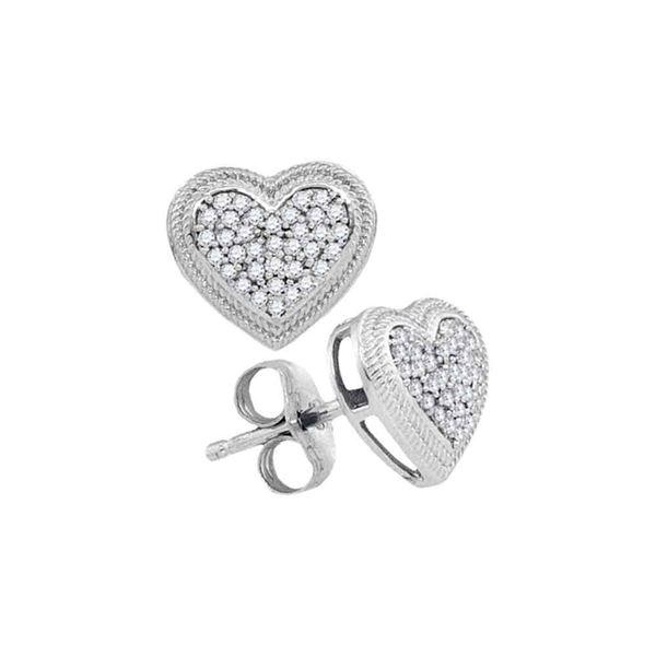 Diamond Heart Cluster Earrings 1/5 Cttw 10kt White Gold