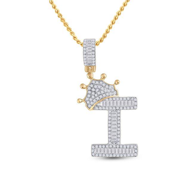 Mens Baguette Diamond Crown I Letter Charm Pendant 5/8 Cttw 10kt Yellow Gold