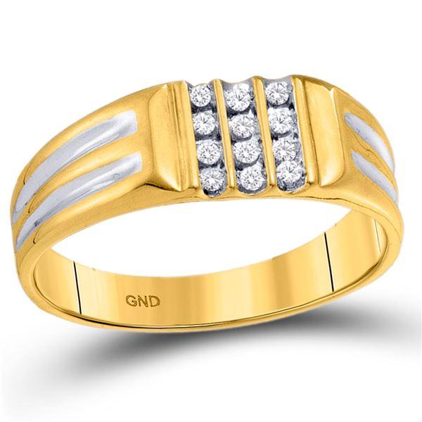 Mens Diamond Triple Row Band Ring 1/8 Cttw 10kt Yellow Gold