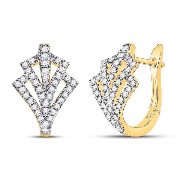 Diamond Hoop Earrings 1/2 Cttw 14kt Yellow Gold