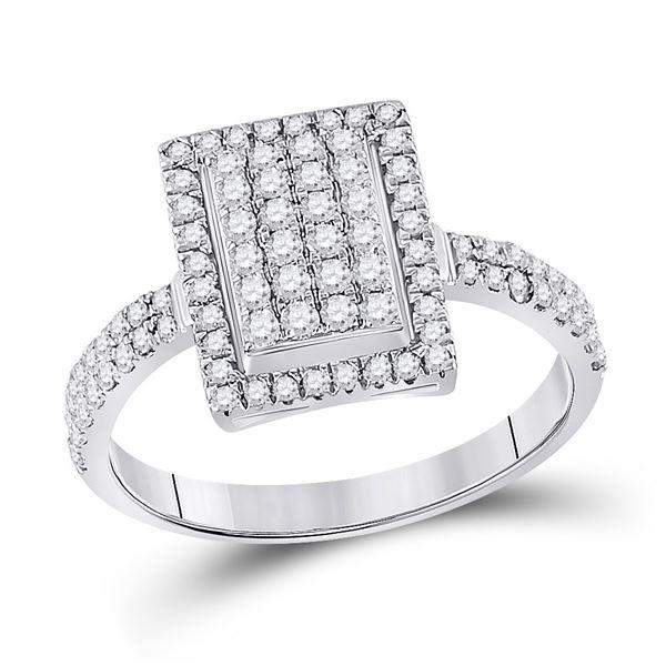 Diamond Rectangle Cluster Ring 5/8 Cttw 10kt White Gold