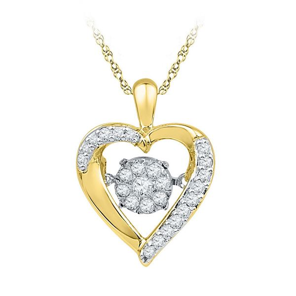 Diamond Moving Twinkle Heart Pendant 1/6 Cttw 10kt Yellow Gold