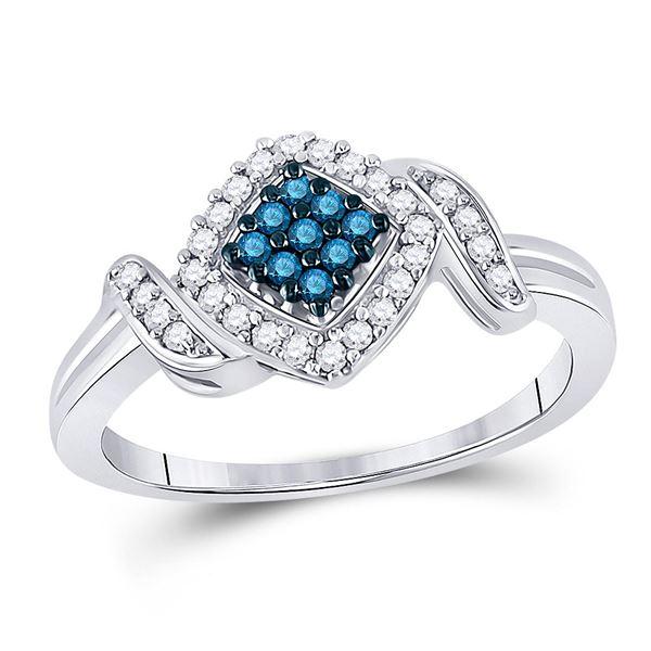Blue Color Enhanced Diamond Square Ring 1/4 Cttw 10kt White Gold