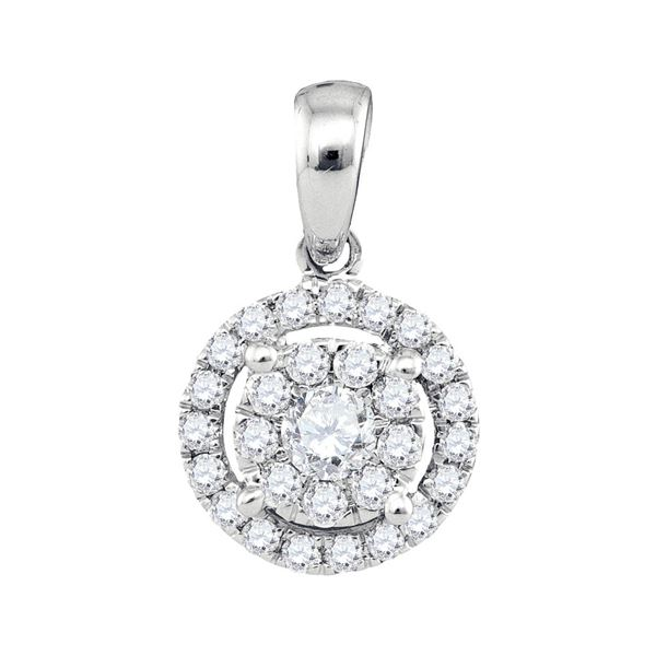 Diamond Concentric Circle Frame Cluster Pendant 1/3 Cttw 14kt White Gold