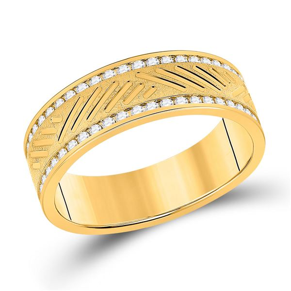 Mens Diamond Wedding Machine Set Band Ring 1/2 Cttw 10kt Yellow Gold