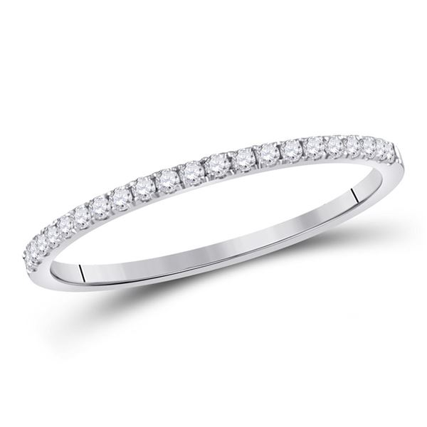 Diamond Stackable Band Ring 1/6 Cttw 10kt White Gold