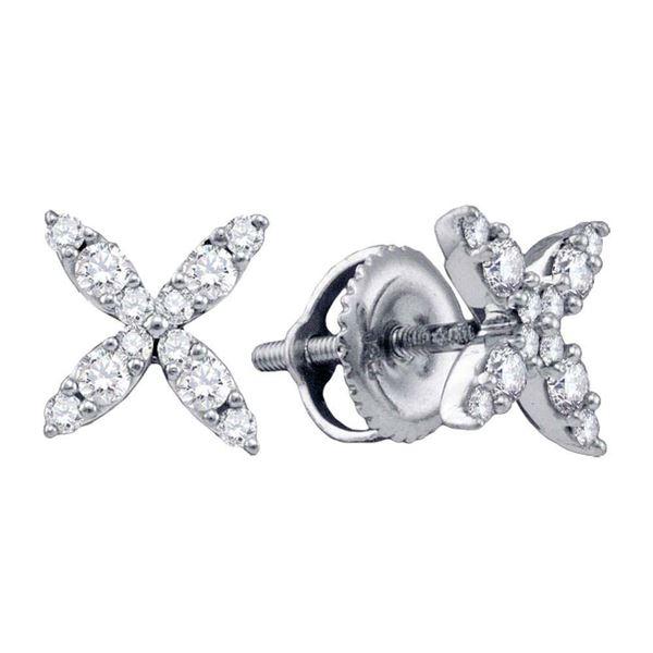 Diamond X Fashion Earrings 1/4 Cttw 14kt White Gold