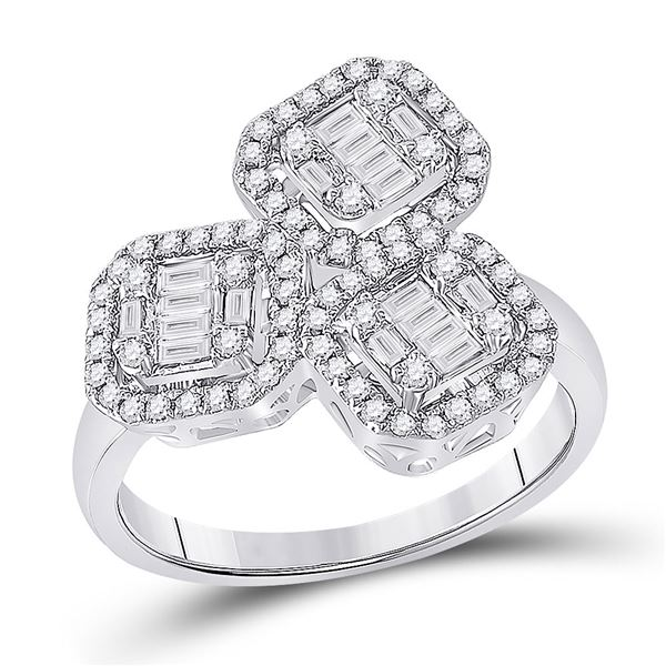 Baguette Diamond Triple Square Cluster Ring 5/8 Cttw 14kt White Gold