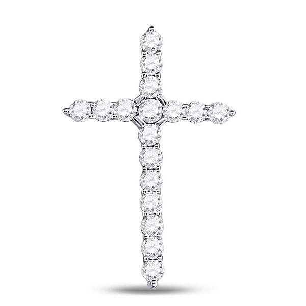 Diamond Roman Cross Pendant 1/2 Cttw 14kt White Gold
