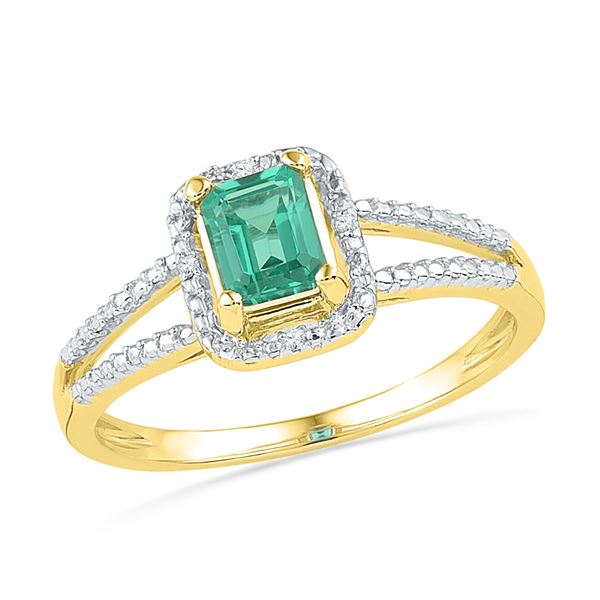 Lab-Created Emerald Solitaire Diamond Split-shank Ring 1-1/2 Cttw 10kt Yellow Gold