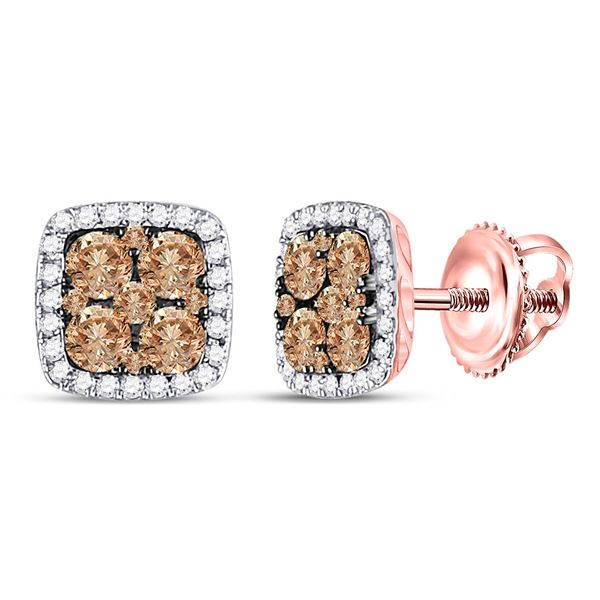 Brown Diamond Square Cluster Earrings 1 Cttw 14kt Rose Gold