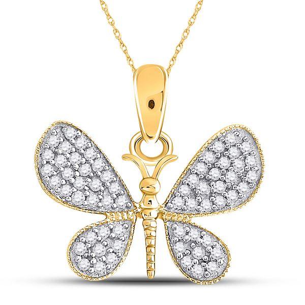 Diamond Butterfly Bug Pendant 1/3 Cttw 10kt Yellow Gold