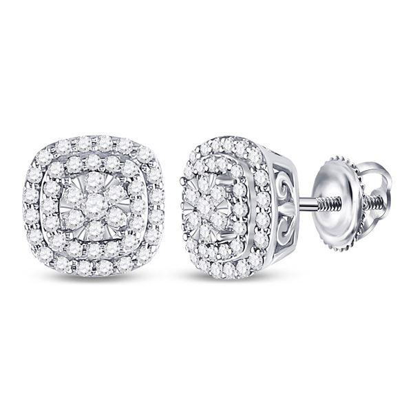 Diamond Cushion Halo Cluster Earrings 1/2 Cttw 14kt White Gold