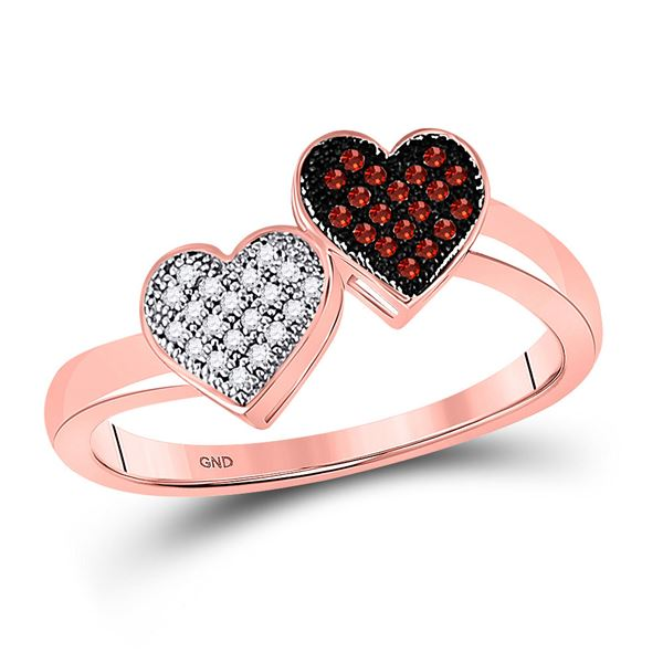 Red Color Enhanced Diamond Heart Ring 1/10 Cttw 10kt Rose Gold