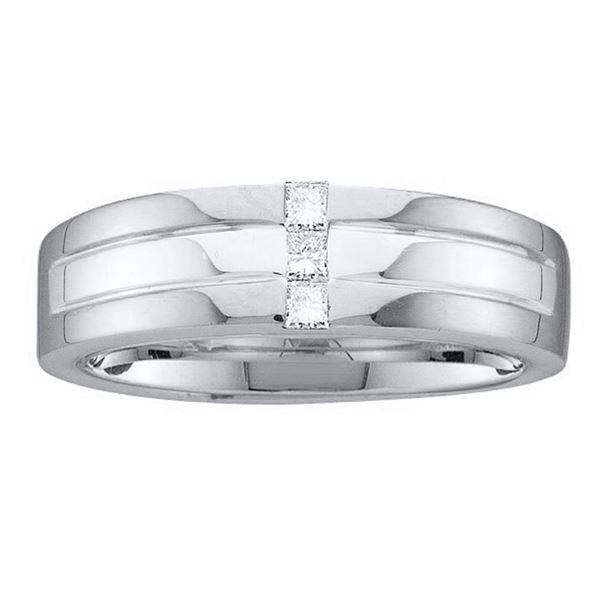 Mens Princess Channel-set Diamond Single Row Wedding Band Ring 1/6 Cttw 14kt White Gold