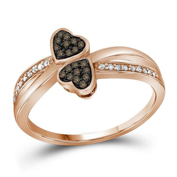 Brown Diamond Heart Ring 1/10 Cttw 10kt Rose Gold