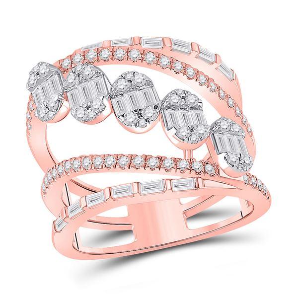 Baguette Diamond Spiral Cluster Fashion Ring 1-3/8 Cttw 14kt Rose Gold