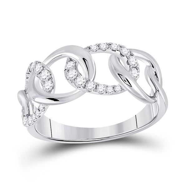 Diamond Curb Link Fashion Ring 1/3 Cttw 14kt White Gold