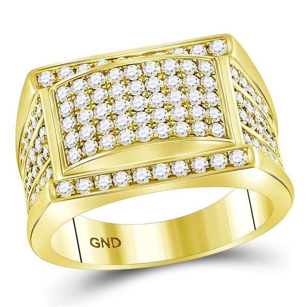 Mens Diamond Cluster Ring 2 Cttw 14kt Yellow Gold