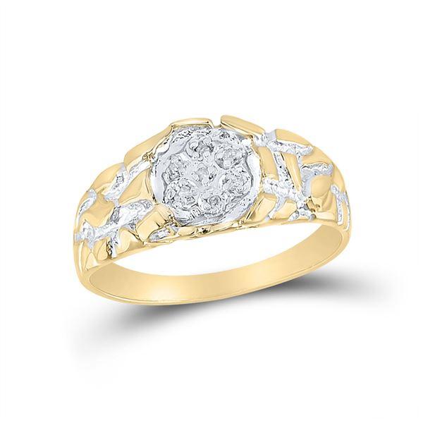 Yellow-tone Sterling Silver Mens Diamond Cluster Ring 1/20 Cttw Yellow-tone Sterling Silver