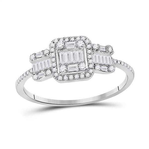 Baguette Diamond Triple Cluster Ring 3/8 Cttw 14kt White Gold