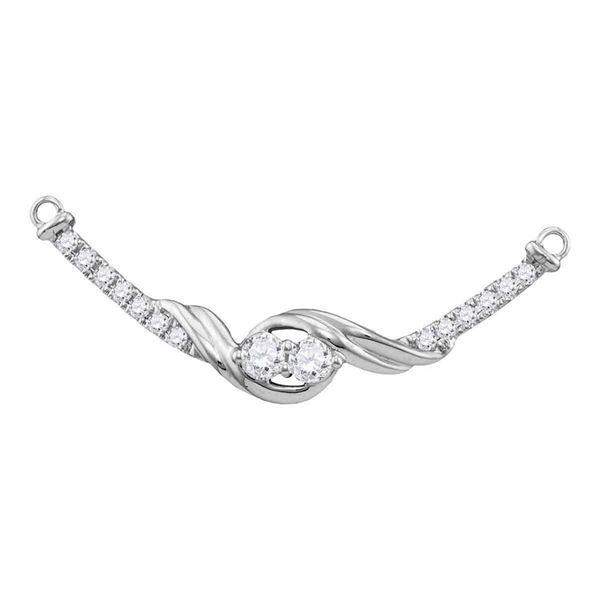 Diamond 2-stone Hearts Together Bar Pendant Necklace 1/3 Cttw 14kt White Gold